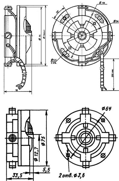 Рис.1. Габаритный чертеж тахогенератора ТП-80-20-0,2